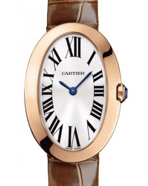 Cartier Baignoire Women's Watch Small Quartz Rose Gold Silver Dial Alligator Leather Strap W8000007 - BRAND NEW