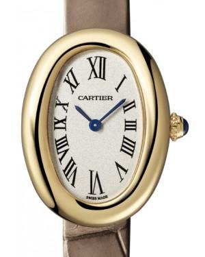 Cartier Baignoire Women's Watch Small Quartz Yellow Gold Silver Dial Alligator Leather Strap WGBA0007 - BRAND NEW