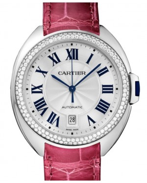Cartier Cle de Cartier Women's Watch Automatic White Gold Diamonds 40mm Silver Dial Alligator Leather Strap WJCL0011 - BRAND NEW