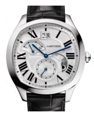 Cartier Drive de Cartier Large Date Retrograde Second Time Zone Automatic Stainless Steel Large 40mm Silver Dial Alligator Leather Strap WSNM0005 - BRAND NEW