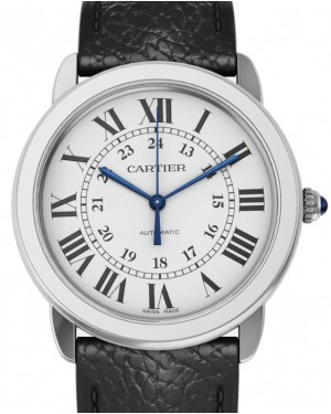 Cartier Ronde Solo de Cartier Men's Watch Automatic Stainless Steel 36mm Silver Dial Leather Strap WSRN0021 - BRAND NEW