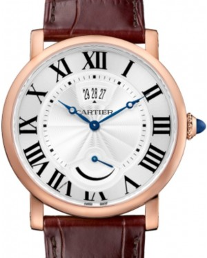 Cartier Rotonde de Cartier Calendar Aperture and Power Reserve Men's Watch Manual Winding Rose Gold 40mm Silver Dial Alligator Leather Strap W1556252 - BRAND NEW