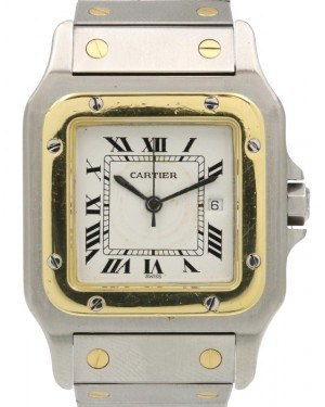 Cartier Santos Galbee Vintage Yellow Gold/Steel Ivory Roman Automatic - PRE-OWNED