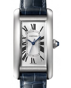 Cartier Tank Americaine Women's Watch Medium Automatic Stainless Steel Silver Dial Alligator Leather Strap WSTA0017 - BRAND NEW