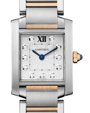 Cartier Tank Francaise Women's Watch Small Quartz Stainless Steel Silver Diamond Dial Stainless Steel Rose Gold Bracelet WE110004 - BRAND NEW