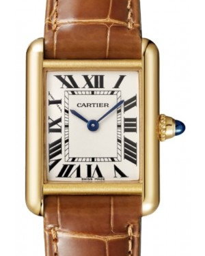 Cartier Tank Louis Women's Watch Small Quartz Yellow Gold Silver Dial Alligator Leather Strap W1529856 - BRAND NEW