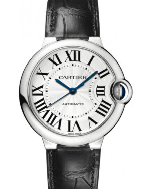 Cartier Ballon Bleu De Cartier Stainless Steel Silver 36mm Dial Leather Strap Automatic W69017Z4 - BRAND NEW