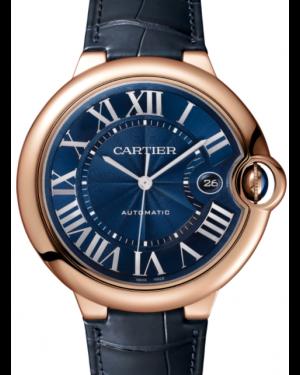Cartier Ballon Bleu De Cartier Rose Gold Blue 42mm Dial Bezel Leather Strap Automatic WGBB0036 - BRAND NEW