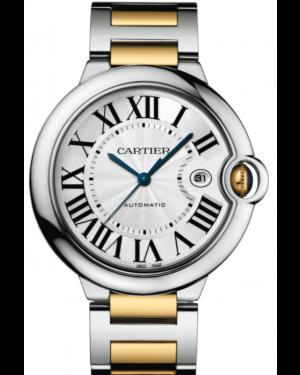 Cartier Ballon Bleu De Cartier Yellow Gold/Steel Large Silver 42mm Dial Bracelet Automatic W2BB0022 - BRAND NEW