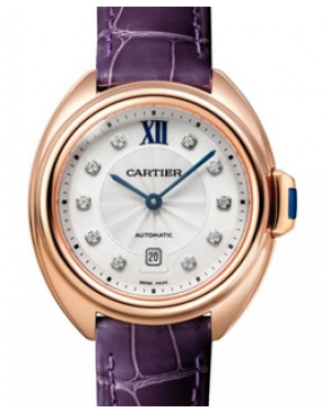 Cartier Cle De Silver Diamond Dial Rose Gold Bezel Purple Leather Strap 31mm WJCL0031 - BRAND NEW