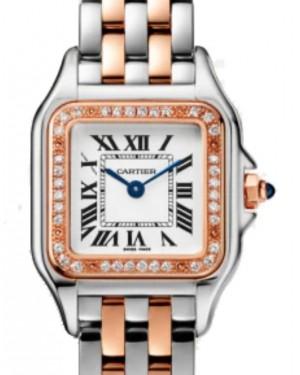 Cartier Panthère de Cartier Women's Watch Small Quartz Stainless Steel Rose Gold Diamonds Silver Dial Steel Rose Gold Bracelet W3PN0006 - Brand New