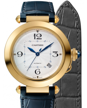 Cartier Pasha De Cartier Yellow Gold Silver 41mm Dial 2 Interchangeable Leather Straps Automatic WGPA0007 - BRAND NEW