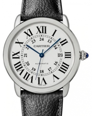 Cartier Ronde Solo De White Dial Stainless Steel Bezel Black Leather Strap 42mm WSRN0022 - BRAND NEW