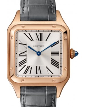 Cartier Santos de Cartier Santos-Dumont Men's Watch Large Quartz Rose Gold Silver Dial Alligator Leather Strap WGSA0021 - BRAND NEW