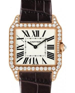 Cartier Santos-Dumont Small Quartz Rose Gold Silver Dial Diamond Leather Strap WH100351 - BRAND NEW
