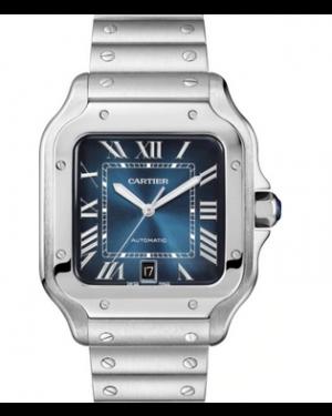 Cartier Santos Large Stainless Steel Blue Dial Bracelet Automatic WSSA0030 - BRAND NEW
