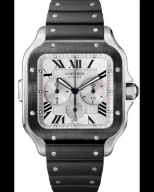Cartier Santos De Cartier Chronograph Stainless Steel/DLC Silver Extra-Large Dial Rubber Strap WSSA0017 - BRAND NEW