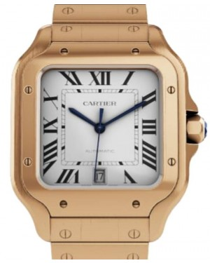 Cartier Santos De Cartier Men's Watch Large Automatic Rose Gold Silver Dial Rose Gold Bracelet WGSA0018 - BRAND NEW