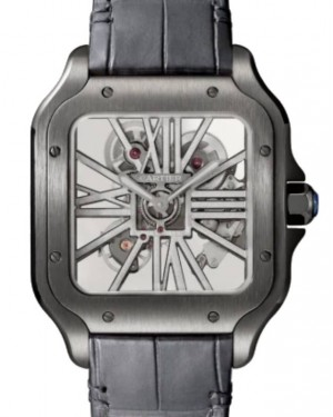 Cartier Santos De Cartier Men's Watch Large Manual Winding Stainless Steel Skeleton Dial Alligator Leather Strap WHSA0009 - BRAND NEW