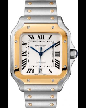 Cartier Santos De Cartier Yellow Gold Silver Large Dial Bracelet Automatic W2SA0009 - BRAND NEW