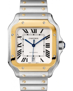 Cartier Santos Large Two-Tone Yellow Gold/Steel Silver Opaline Dial Bracelet W2SA0006 - BRAND NEW