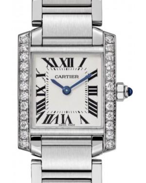 Cartier Tank Francaise Women's Watch Small Quartz Stainless Steel Diamonds Silver Dial Steel Bracelet W4TA0008 - BRAND NEW