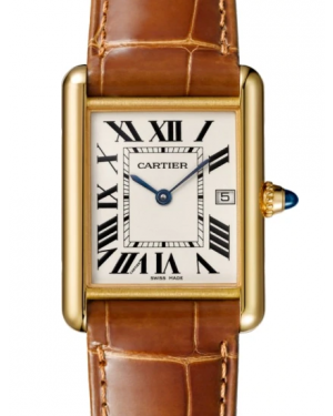 Cartier Tank Louis Yellow Gold Large Silver Dial Leather Strap W1529756 - BRAND NEW