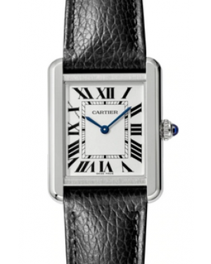 Cartier Tank Solo Silver Dial Stainless Steel Bezel Black Leather Strap 31 mm x 24.4 mm WSTA0030 - BRAND NEW