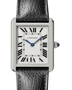Cartier Tank Solo Silver Dial Stainless Steel Bezel Black Leather Strap 34.8 mm x 27.4 mm WSTA0028 - BRAND NEW