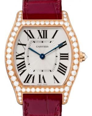 Cartier Tortue Women's Watch Medium Manual Winding Rose Gold Diamonds Silver Dial Alligator Leather Strap WA501008 - BRAND NEW