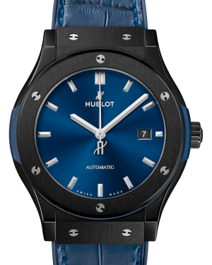 Hublot Classic Fusion Ceramic Blue 42mm Dial Bezel Leather Strap 542.CM.7170.LR - BRAND NEW