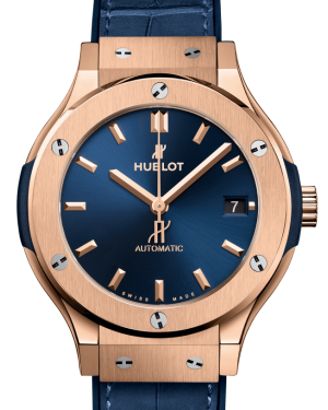 Hublot Classic Fusion King Gold Blue 38mm Dial Rubber Leather Strap Automatic 565.OX.7180.LR - BRAND NEW