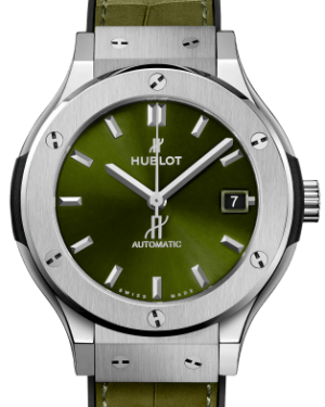 Hublot Classic Fusion Titanium Green 38mm Dial Bezel Leather Strap 38mm 565.NX.8970.LR - BRAND NEW
