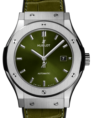 Hublot Classic Fusion Titanium Green 42mm Dial Bezel Leather Strap 542.NX.8970.LR - BRAND NEW