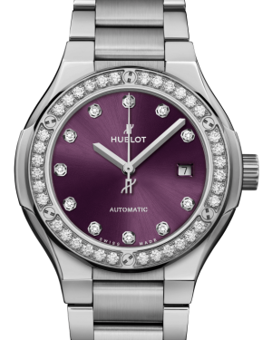 Hublot Classic Fusion Titanium Diamonds Purple 33mm Dial Bezel & Bracelet 585.NX.897V.NX.1204 - BRAND NEW