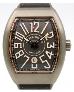 Franck Muller Vanguard Titanium Rose Gold Grey Dial Black Leather Strap V45 SC TT BR 5N - PRE-OWNED