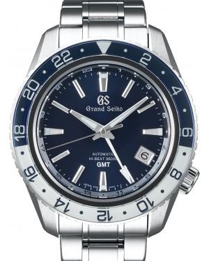 Grand Seiko Hi-Beat 36000 GMT Triple Time Stainless Steel Blue 44.2mm Dial Rotating Bezel Bracelet SBGJ237 - BRAND NEW