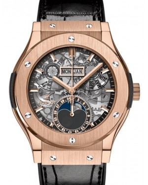 Hublot Classic Fusion Aerofusion Moonphase King Gold 42mm Skeleton Dial Rubber and Alligator Leather Straps 547.OX.0180.LR - BRAND NEW