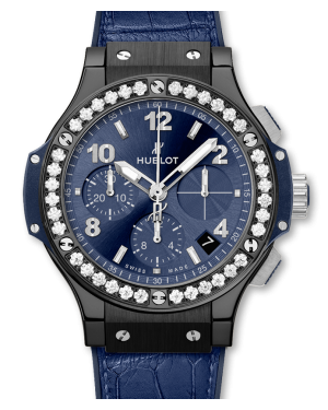 Hublot Big Bang Blue Dial & Diamond Bezel Leather Strap 41mm 341.CM.7170.LR.1204 - BRAND NEW
