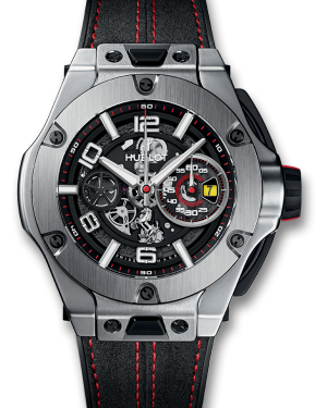 Hublot Big Bang Ferrari Chronograph Unico Rhodium Dial & Bezel Stainless Steel Leater Strap 44mm 402.NX.0123.WR - BRAND NEW