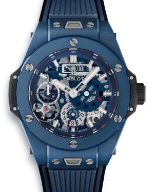 Hublot Big Bang MECA-10 Blue Skeleton Dial Ceramic Bezel Rubber Strap 45mm 414.EX.5123.RX - BRAND NEW