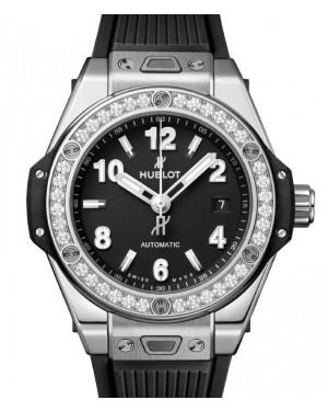 Hublot Big Bang One Click Steel Diamonds 33mm Black Dial Rubber Strap 485.SX.1170.RX.1204 - BRAND NEW