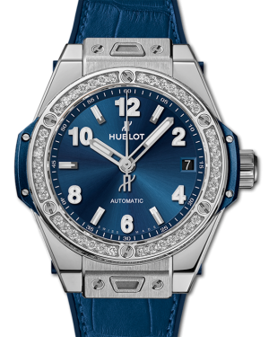Hublot Big Bang One Click Blue Dial Stainless Steel Diamond Bezel Leather Strap 39mm 465.SX.7170.LR.1204 - BRAND NEW