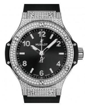 Hublot Big Bang Original 3-Hands Steel Pave Diamonds 38mm Black Dial Rubber Strap 361.SX.1270.RX.1704 - BRAND NEW