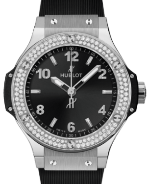 Hublot Big Bang Steel Diamonds Black 38mm Dial Bezel Rubber Strap 361.SX.1270.RX.1104 - BRAND NEW