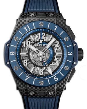 Hublot Big Bang Unico Gmt Carbon Case Skeleton Dial Blue Ceramic Rubber Strap 45mm 471.QL.7127.RX - BRAND NEW