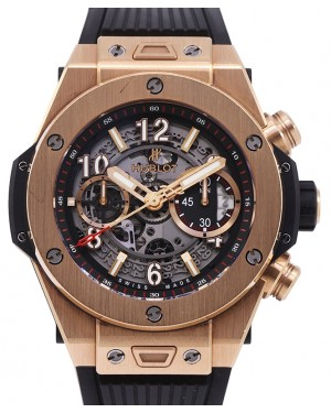 Hublot Big Bang Unico Chronograph King Gold 45mm Skeleton Dial RubberStrap 411.OX.1180.RX - PRE OWNED