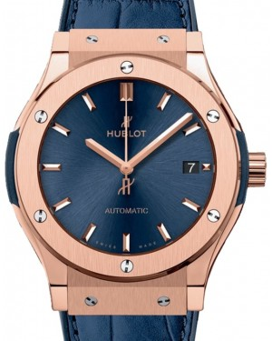 Hublot Classic Fusion 3-Hands King Gold 45mm Blue Dial Rubber and Alligator Leather Straps 511.OX.7180.LR - BRAND NEW