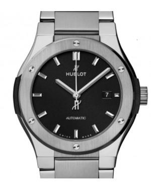 Hublot Classic Fusion 3-Hands Titanium Bracelet 42mm Black Dial Titanium Bracelet 548.NX.1170.NX - BRAND NEW
