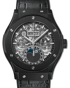 Hublot Classic Fusion Aerofusion Moonphase Black Magic Skeleton Dial Ceramic Bezel Leather Strap 42mm 547.CX.0170.LR - BRAND NEW